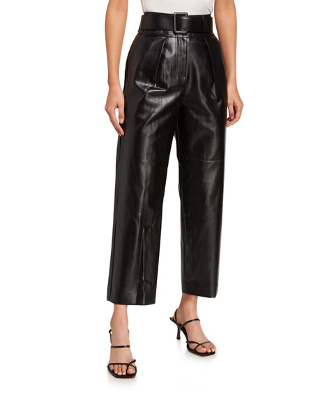 Self-Portrait Faux-Leather Belted High-Rise Trousers