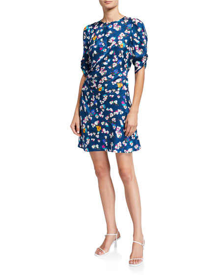 Tanya Taylor Liz Ruched Floral-Print Cocktail Dress