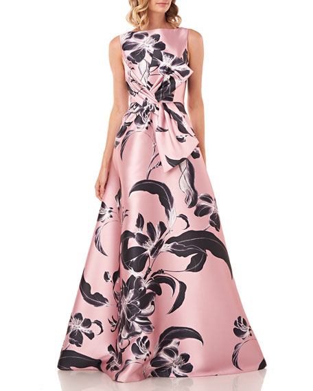 Kay Unger New York Grace Floral Printed Sleeveless Mikado Gown w/ 3D Bow