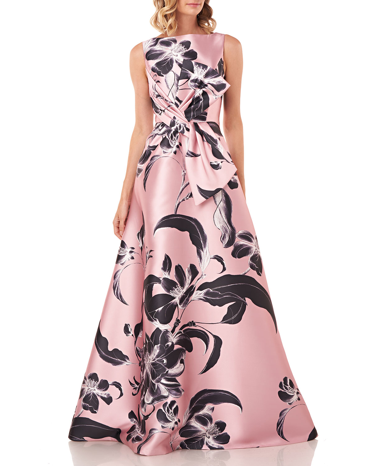 Grace Floral Printed Sleeveless Mikado Gown w/ 3D Bow