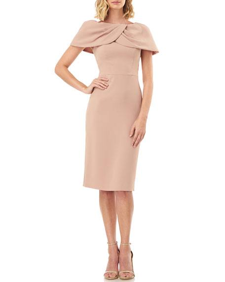 Kay Unger New York Nicolette Stretch Crepe Draped Capelet Sheath Dress