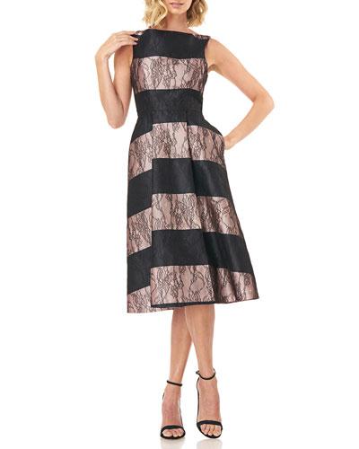Sarah Sleeveless Striped Mikado Dress with Lace