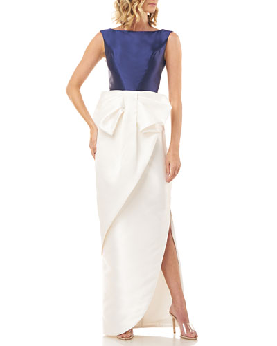 Hailey Colorblock Sleeveless Dress with Side Slit & 3D Bow