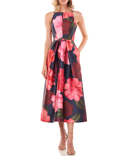 Madeline Floral-Printed Mikado Halter Dress