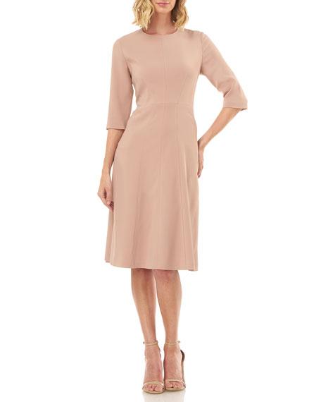 Kay Unger New York Elena Jewel-Neck Stretch Crepe Cocktail Dress