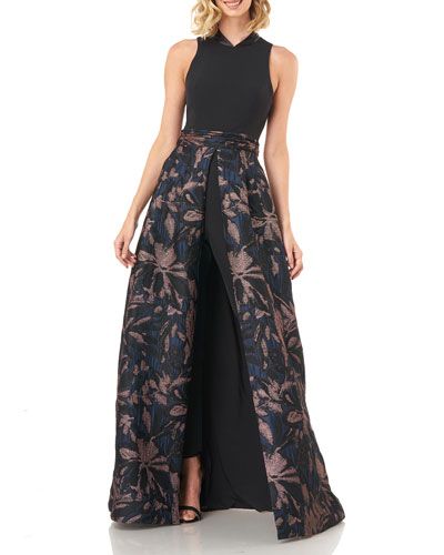 Nevada Stretch Crepe Jumpsuit w/ Jacquard Skirt Overlay