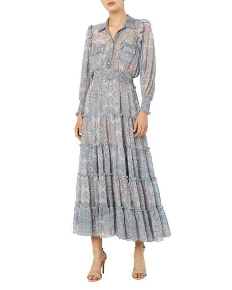 MISA Los Angeles Aydeniz Tiered Maxi Dress