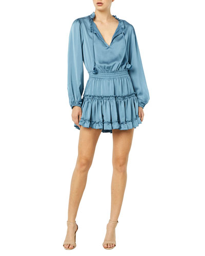Lorena Smocked-Waist Long-Sleeve Tiered Mini Dress