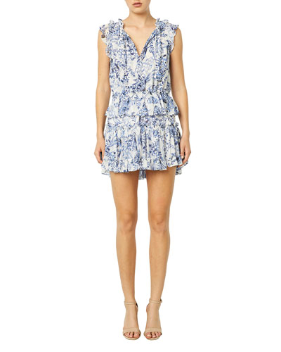 Lilian Printed Flounce Mini Dress