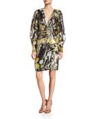 flor et.al Maiden Neon Floral Belted Long-Sleeve Dress