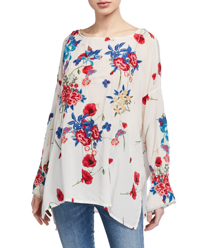 Plus Size Kanchi Floral Long-Sleeve Silk Blouse