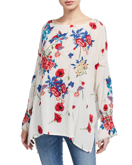 Johnny Was Plus Size Kanchi Floral Long-Sleeve Silk Blouse