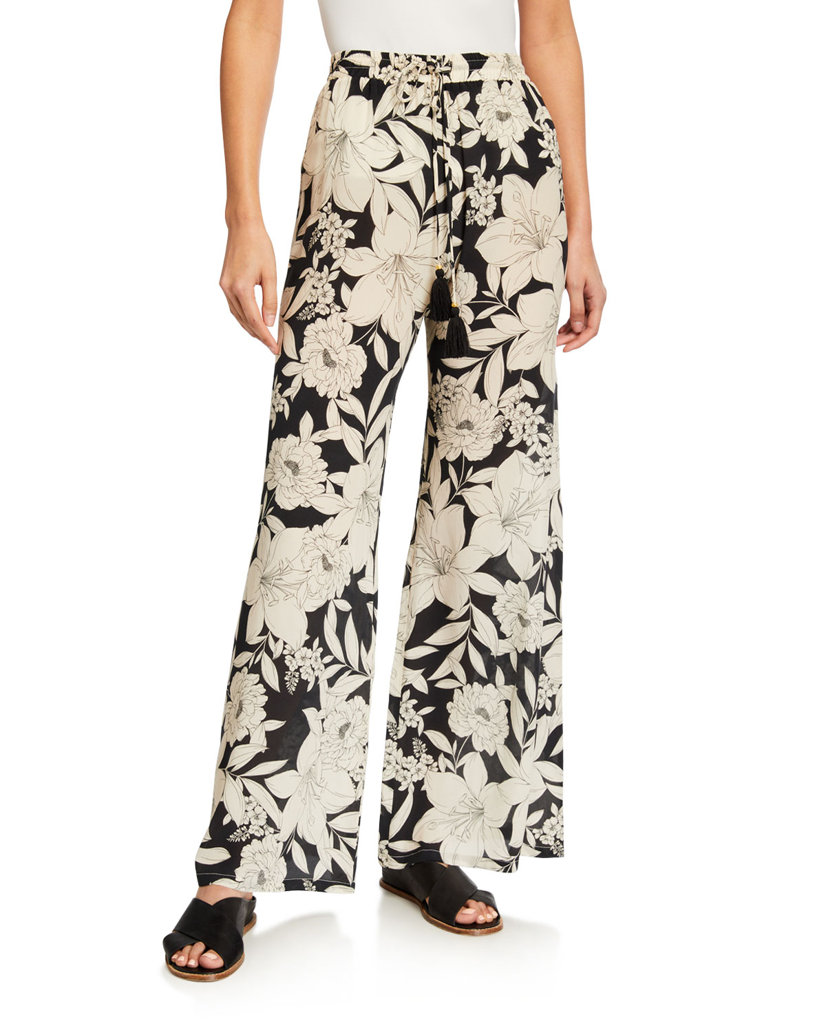 Johnny Was PLUS SIZE CLEMENCE FLORAL-PRINT EASY PANTS
