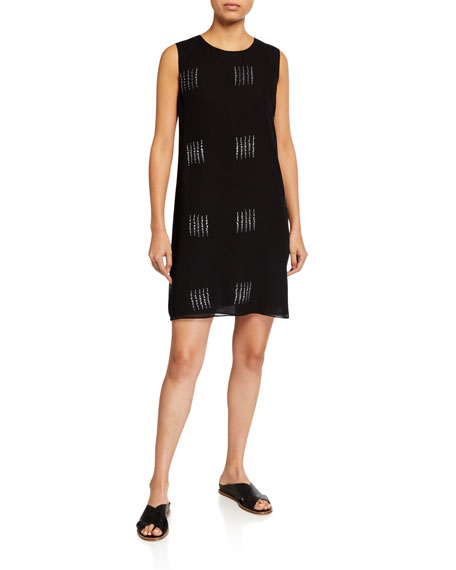 Eileen Fisher Silk Shibori Block Tank Dress