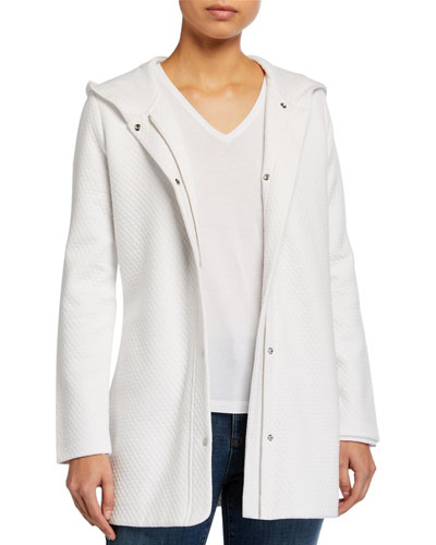 Diamond Jacquard Hooded Long Jacket