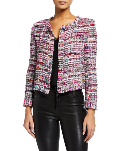 Brelanie Open-Front Tweed Jacket