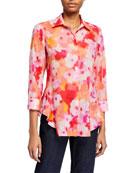 Finley Petite Agetha Watercolor Button-Down Shirt