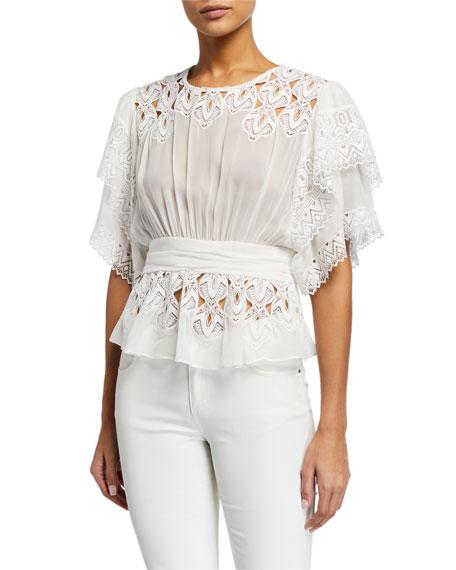 Iro Caleona Shirred Embroidered Short-Sleeve Blouse