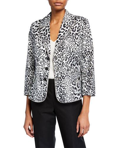 Plus Size Liquid Leopard Printed Woven Jacket