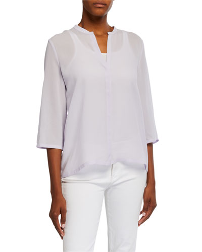 Mandarin Collar 3/4-Sleeve Textured Silk Mesh Shirt