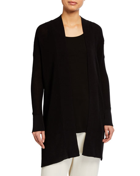 Eileen Fisher Corded Organic Cotton Open Cardigan
