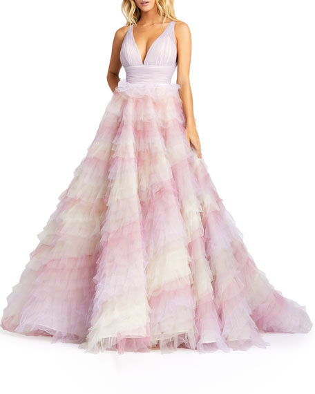 Mac Duggal Empire Layered Tulle Ball Gown