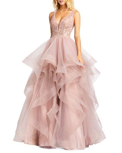 Sleeveless Ruffle Tiered Organza Ball Gown