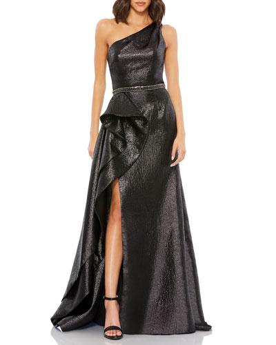 Metallic One-Shoulder Asymmetric Vertical Ruffle Gown