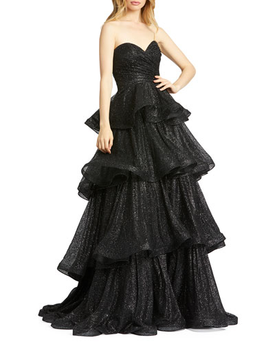 Sparkle Ruffle Tiered Strapless Ball Gown