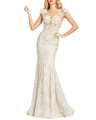 White Lace Gown Neiman Marcus