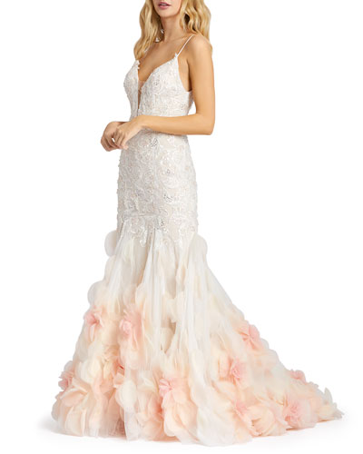 Lace Mermaid Gown with Floral Organza Applique
