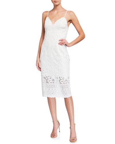Gia Lace V-Neck Bodycon Cocktail Dress