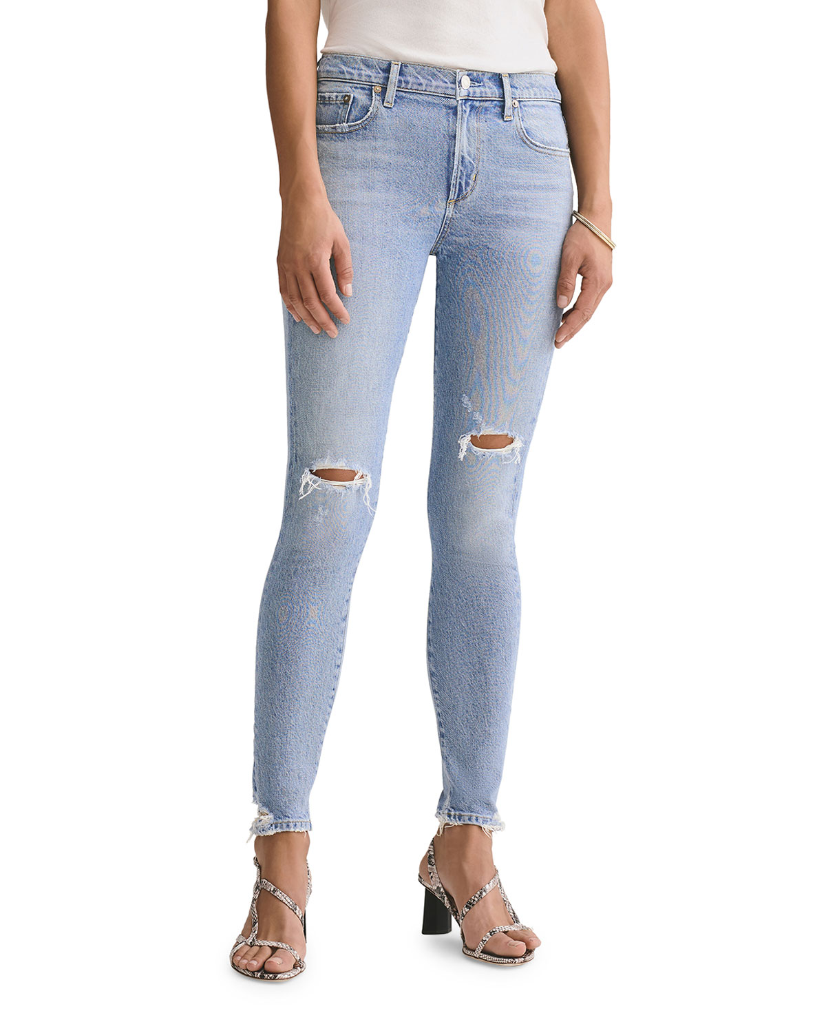 Agolde Denims SOPHIE MID-RISE ANKLE SKINNY JEANS WITH KNEE RIP
