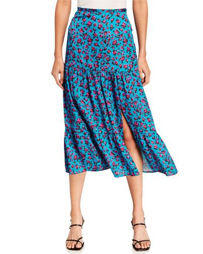 Bestia Floral-Print Slit Mid Skirt