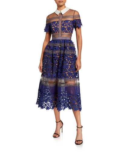Liliana Collared Lace Midi Dress