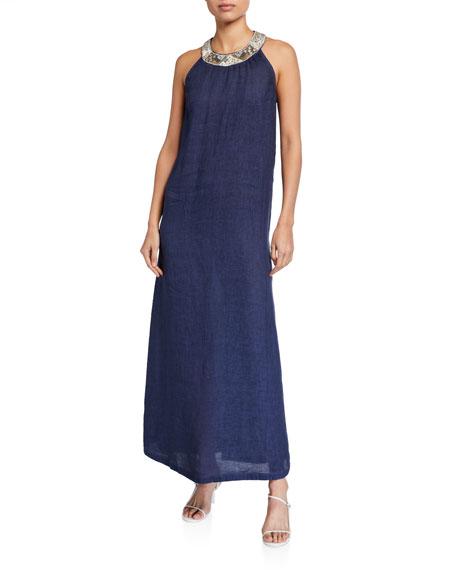 120% Lino Antique Embellished Halter-Neck Maxi Dress