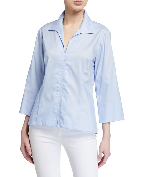 Finley 3/4-Sleeve Stretch Cotton Swing Shirt