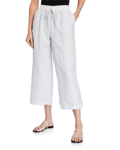 Drawstring Cropped Wide-Leg Linen Pants