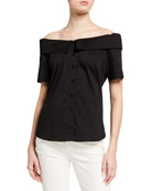 Finley Maddie Off-the-Shoulder Button-Front Shirt