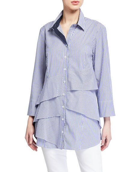 Finley Jenna Ralph Stripe 3/4-Sleeve Tiered Ruffle Shirt