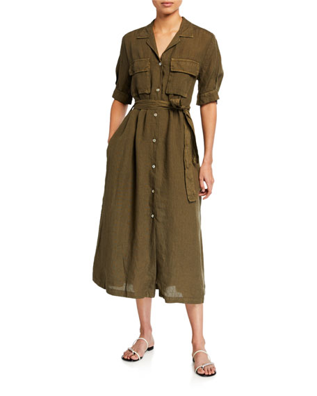 120% Lino Elbow-Sleeve Belted Chest-Pocket Shirtdress