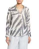 120% Lino Embellished V-Neck Long-Sleeve Zebra-Print Top