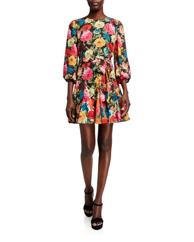 Mina Puff-Sleeve Godet Dress w/ Belt