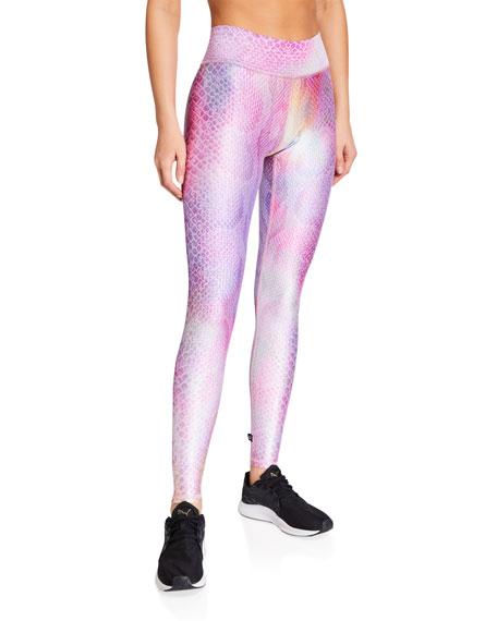 Terez Pink Python Printed Tall Band Leggings