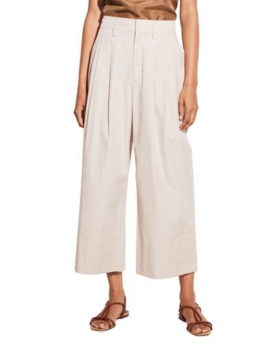 Pleated Wide-Leg Cropped Pants