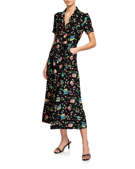 HVN Long Maria Printed Button-Down Pajama Dress w/ Belt