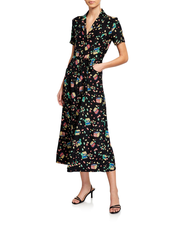 Hvn MARIA PRINTED BUTTON-DOWN PAJAMA DRESS W/ BELT