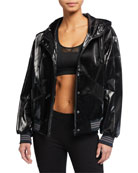 Blanc Noir Kylie Iridescent Patent Hooded Jacket