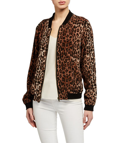 Leopard Print Silk Bomber Jacket w/ Rose Print Lining