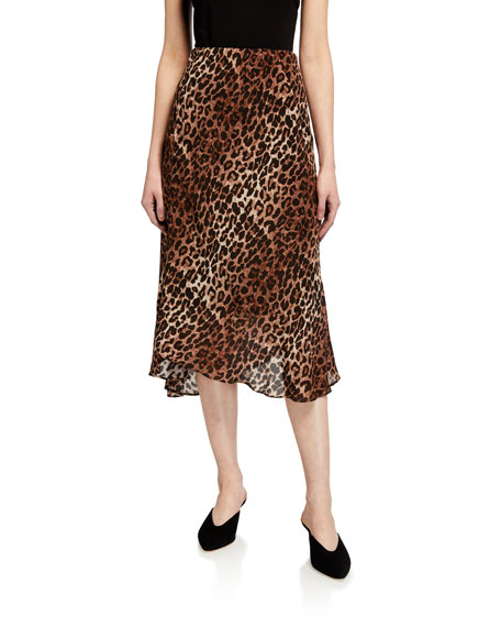 Johnny Was Silk Leopard-Print Midi Skirt w/ Lining